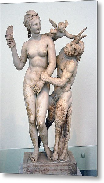 Aphrodite Pan And Eros Metal Print by Andonis Katanos