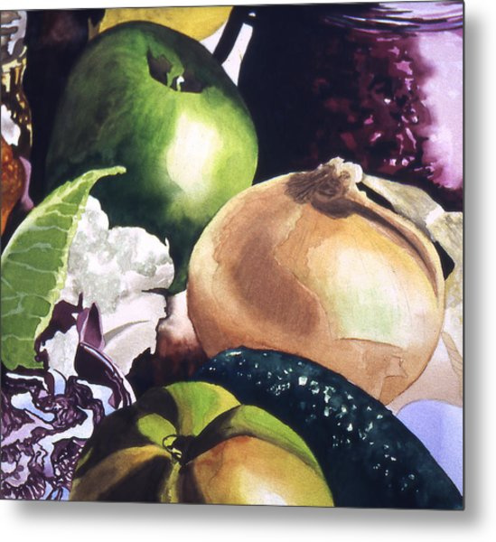 Apple And Onion Metal Print by Eunice Olson