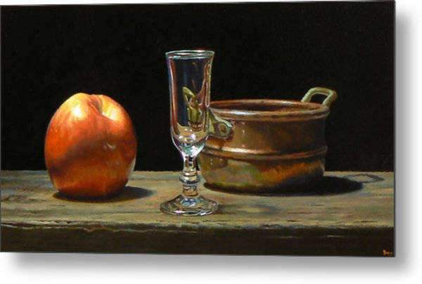 Apple Glass Copper Metal Print by Jeffrey Hayes