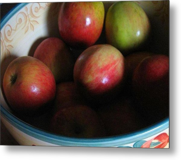 Metal Print featuring the photograph Apples In Ceramic Bowl by Deb Martin-Webster