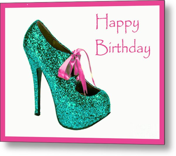 Aqua Glitter Birthday Shoe Metal Print by Maralaina Holliday