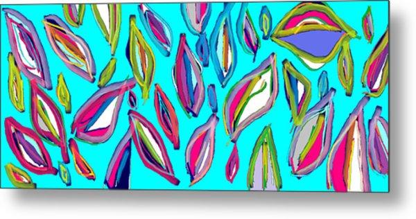 Aquamarine Leaves Metal Print by Rosana Ortiz