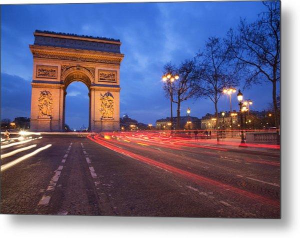 Arc De Triomphe At Night Metal Print