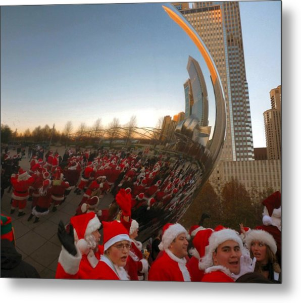 Architecture Chicago Cloud Gate With Santas Metal Print