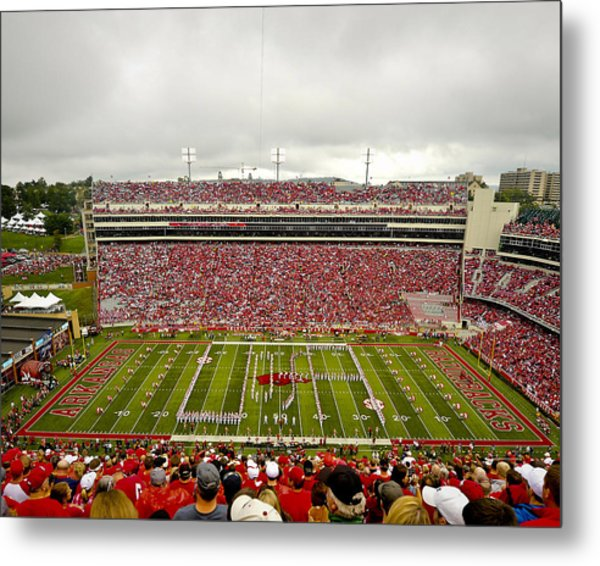 Arkansas Marching Band Forms U-of-a At Razorback Stadium Metal Print by Replay Photos