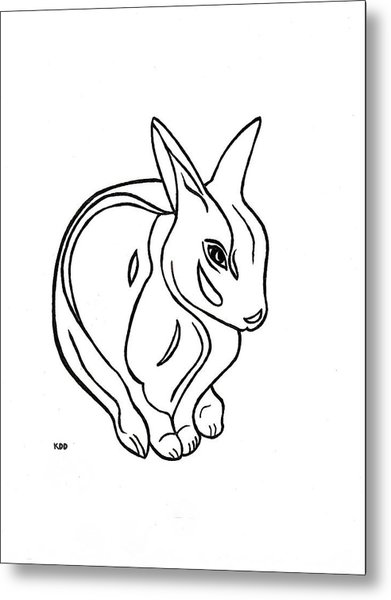 Art Deco Bunny Metal Print