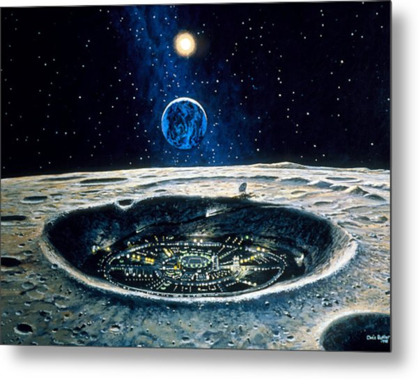 Artwork Of A City In A Crater On The Moon Metal Print by Chris Butler