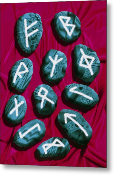 Artwork Of Rune Stones Used For Fortune Telling Metal Print by Victor Habbick Visions