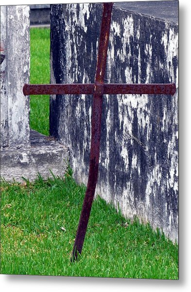 At The Old Rusty Cross Metal Print by Rdr Creative