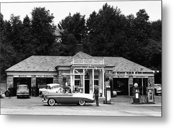 Auto At Gas Station Metal Print by George Marks