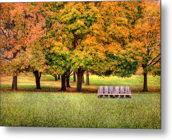Autumn And A Bench Metal Print