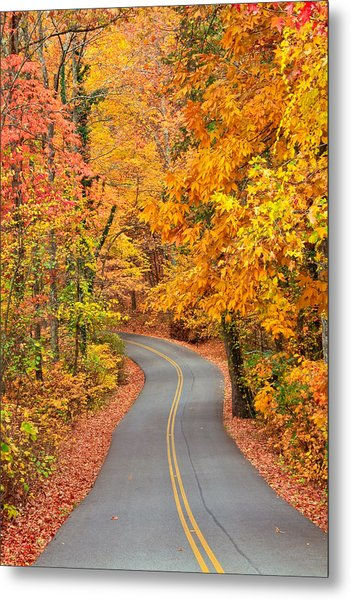 Autumn Drive Signal Mountain Metal Print