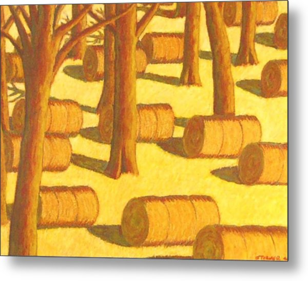 Autumn Haybales Metal Print by John  Turner