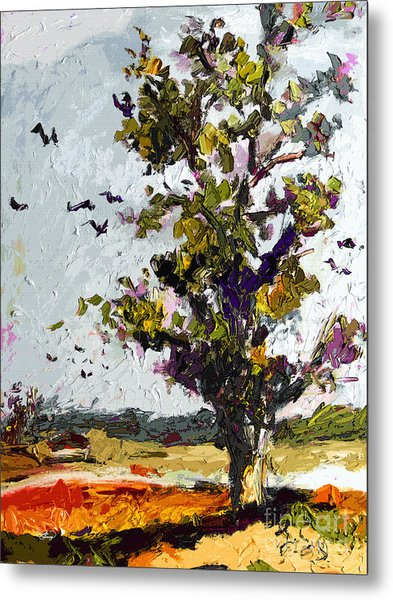 Autumn Tree Bird Migration Modern Art Metal Print