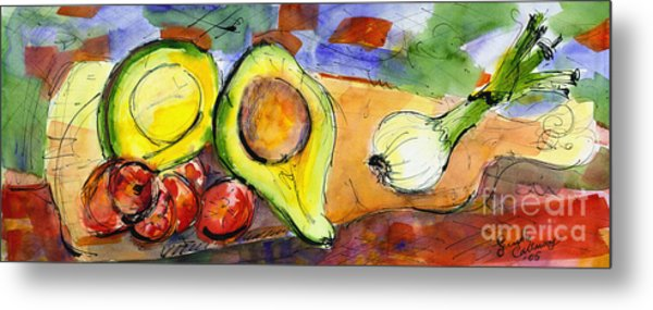 Avocado And Onions Vegetable Still Life Metal Print