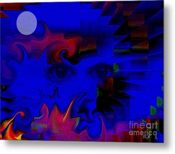 Aztec Woman Of The Moon Metal Print by Rene Avalos