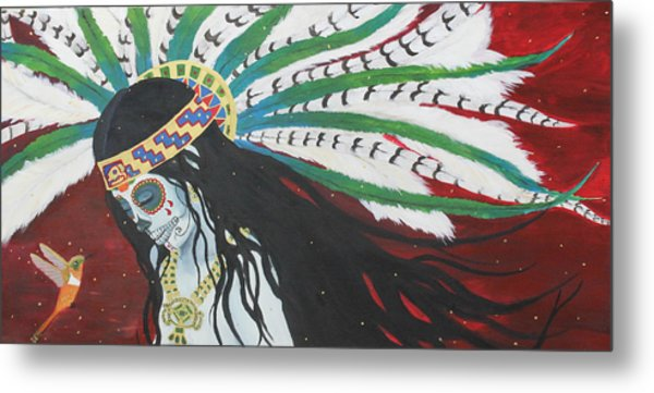 Azteca Con Hummingbird Metal Print by Sonia Orban-Price