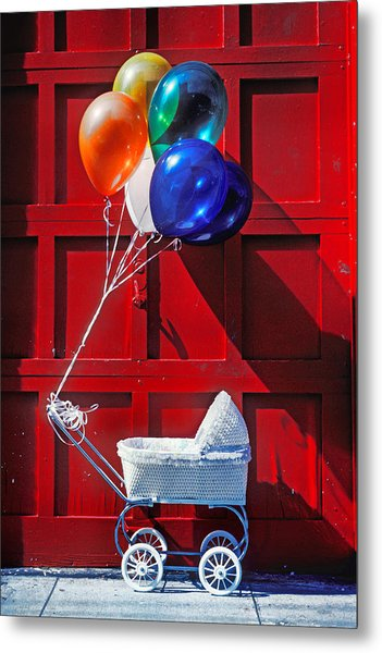 Baby Buggy With Balloons  Metal Print