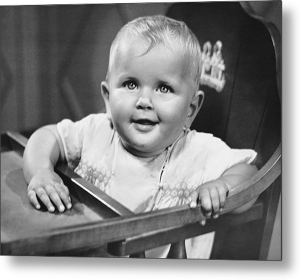 Baby In Highchair Metal Print by George Marks