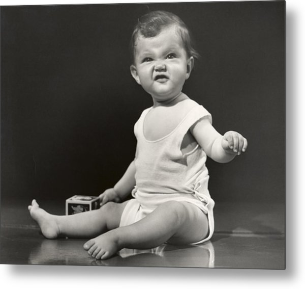 Baby Making Funny Face Metal Print by George Marks