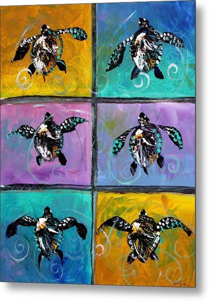 Baby Sea Turtles Six Metal Print