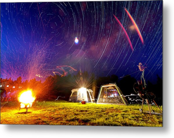 Back Yard Camping Metal Print by Aaron Priest