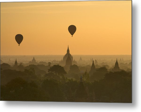 Bagan Pagodas In The Morning Metal Print