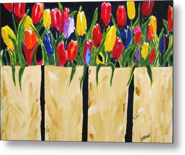 Bagged Tulips Metal Print by Ron LaRue