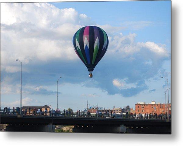 Balloon Over The Bridge Metal Print by Alan Holbrook