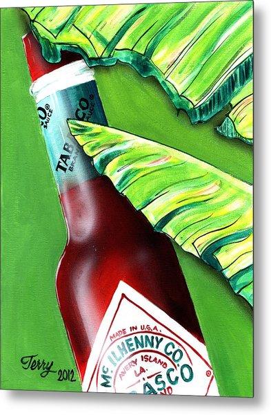 Banana Leaf Series - Tabasco Bottle Metal Print by Terry J Marks Sr