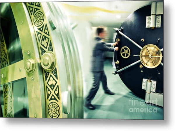 Banker Is Opening Safe Door Metal Print