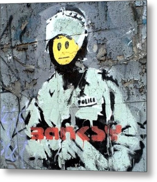 #banksy #stencil #streetart #police Metal Print