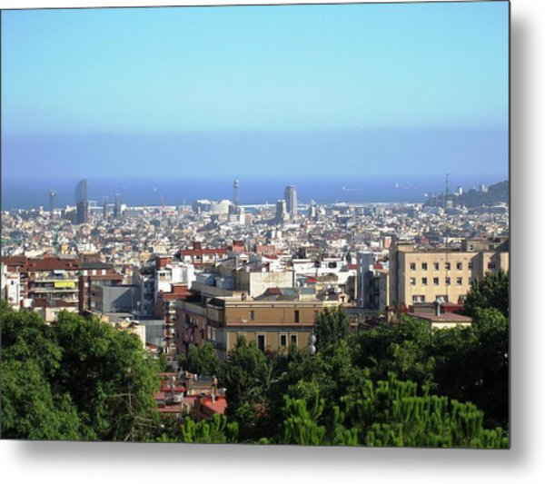 Barcelona Close Up View From Park Guell In Spain Metal Print by John Shiron