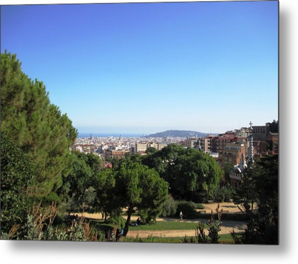 Barcelona Panoramic View From Park Guell In Spain Metal Print by John Shiron