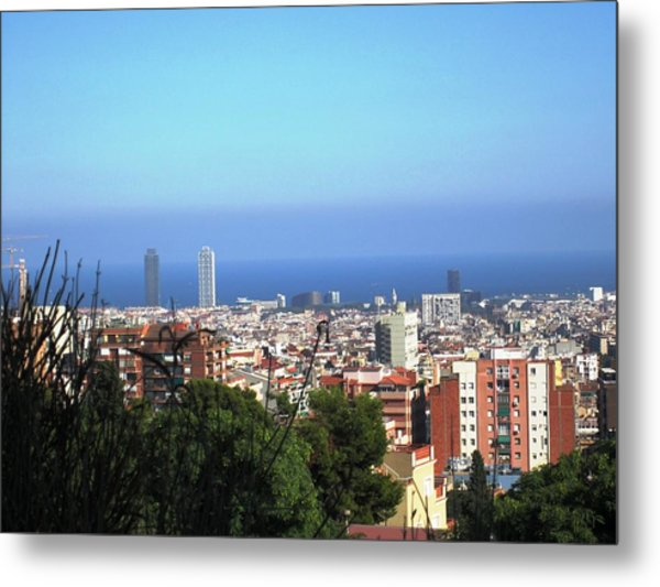 Barcelona Panoramic View IIi From Park Guell In Spain Metal Print by John Shiron