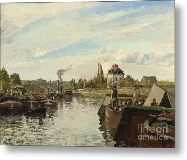 Barge On The Seine At Bougival Metal Print