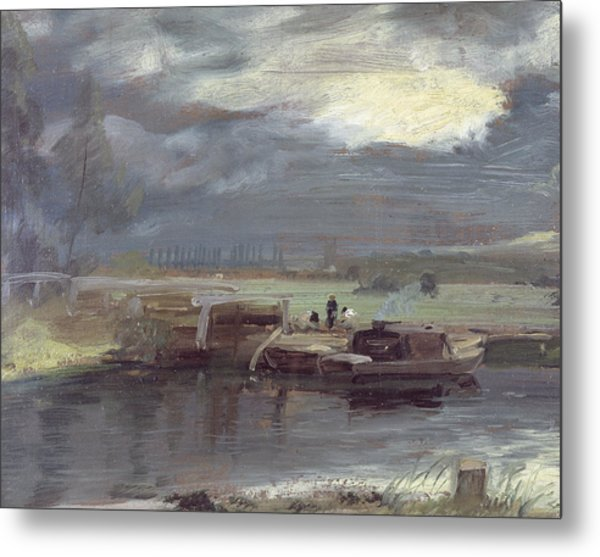 Barges On The Stour With Dedham Church In The Distance Metal Print