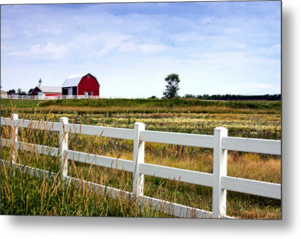 Barn And Fence Metal Print by Cheryl Cencich
