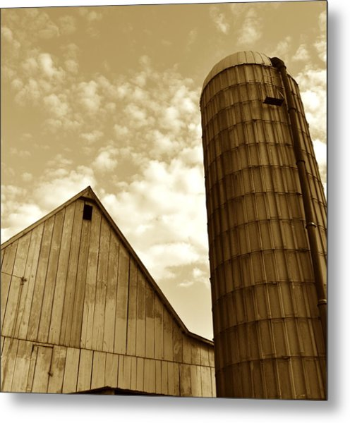 Barn And Silo In Sepia Metal Print