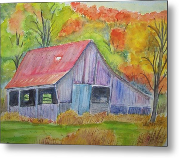 Barn At Round Bottom Metal Print