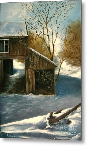 Barn In The Snow Metal Print