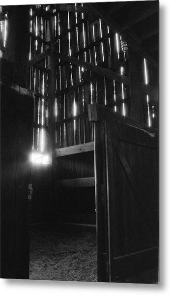 Barn Interior True Bw Metal Print by Katherine Huck Fernie Howard
