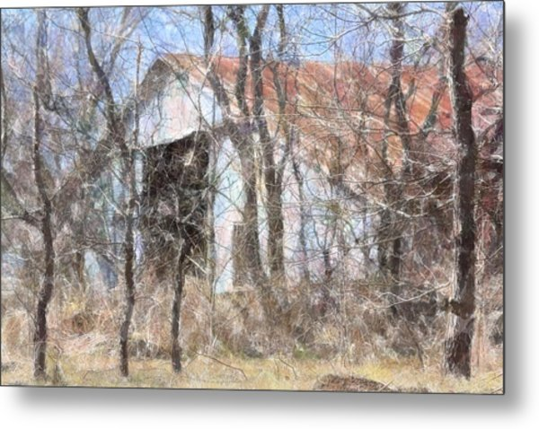 Barn Through Trees Metal Print