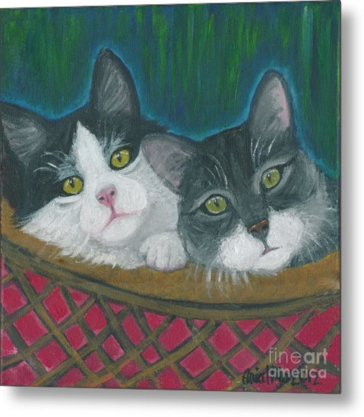 Basket Of Kitties Metal Print