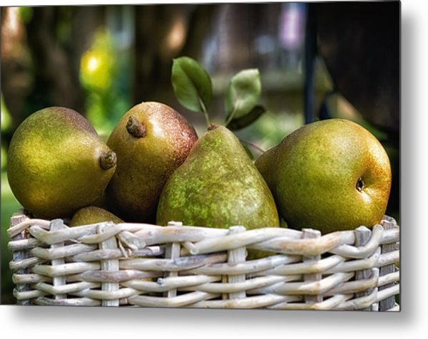 Basket Of Pears Metal Print