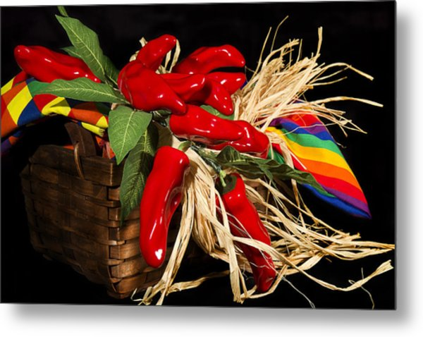 Basket Red Peppers Metal Print by Trudy Wilkerson