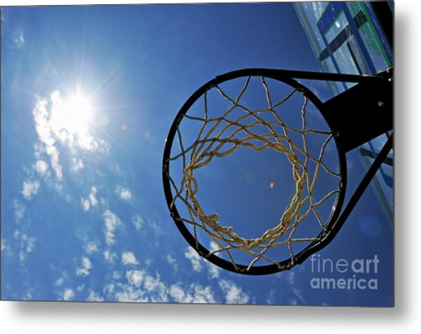 Basketball Hoop And The Sun Metal Print by Sami Sarkis