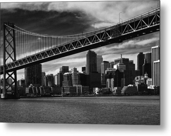 Bay Bridge And San Francisco Downtown Metal Print by Laszlo Rekasi