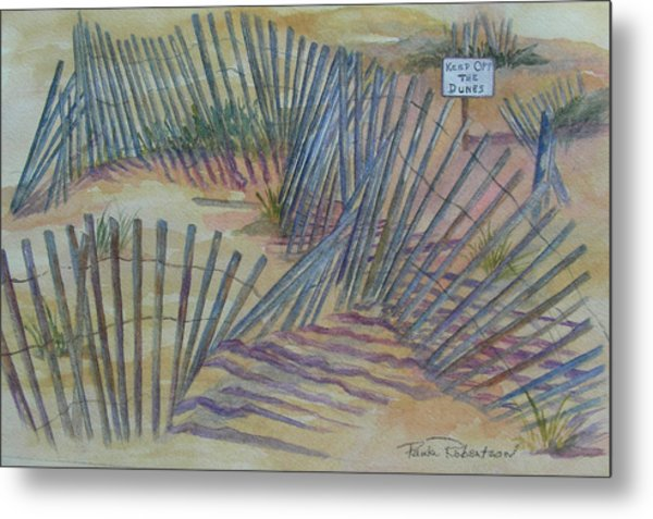 Metal Print featuring the painting Beach Fences by Paula Robertson