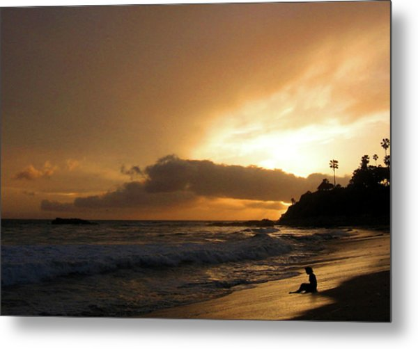 Beach Girl Sunset Metal Print by Ed Golden